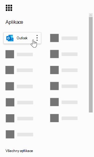 Spouštěč aplikací Office 365 se zvýrazněnou aplikací Outlook