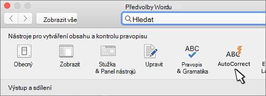 Word pro Mac – tlačítko Automatické opravy