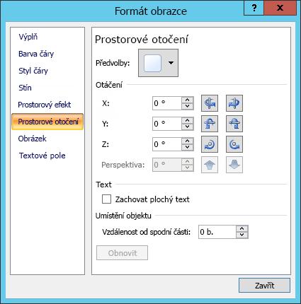 Možnosti 3D otočení v prostoru v dialogovém okně Formát obrazce
