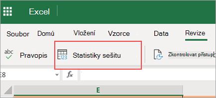 Zobrazuje možnost nabídky Statistika sešitu.