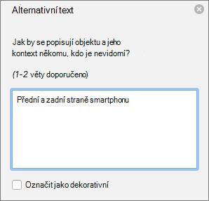 Dialogové okno Excelu 365 psaní alternativní Text pro obrázky