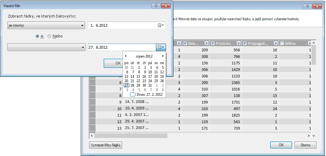 Podokno filtru v Průvodci importem tabulky