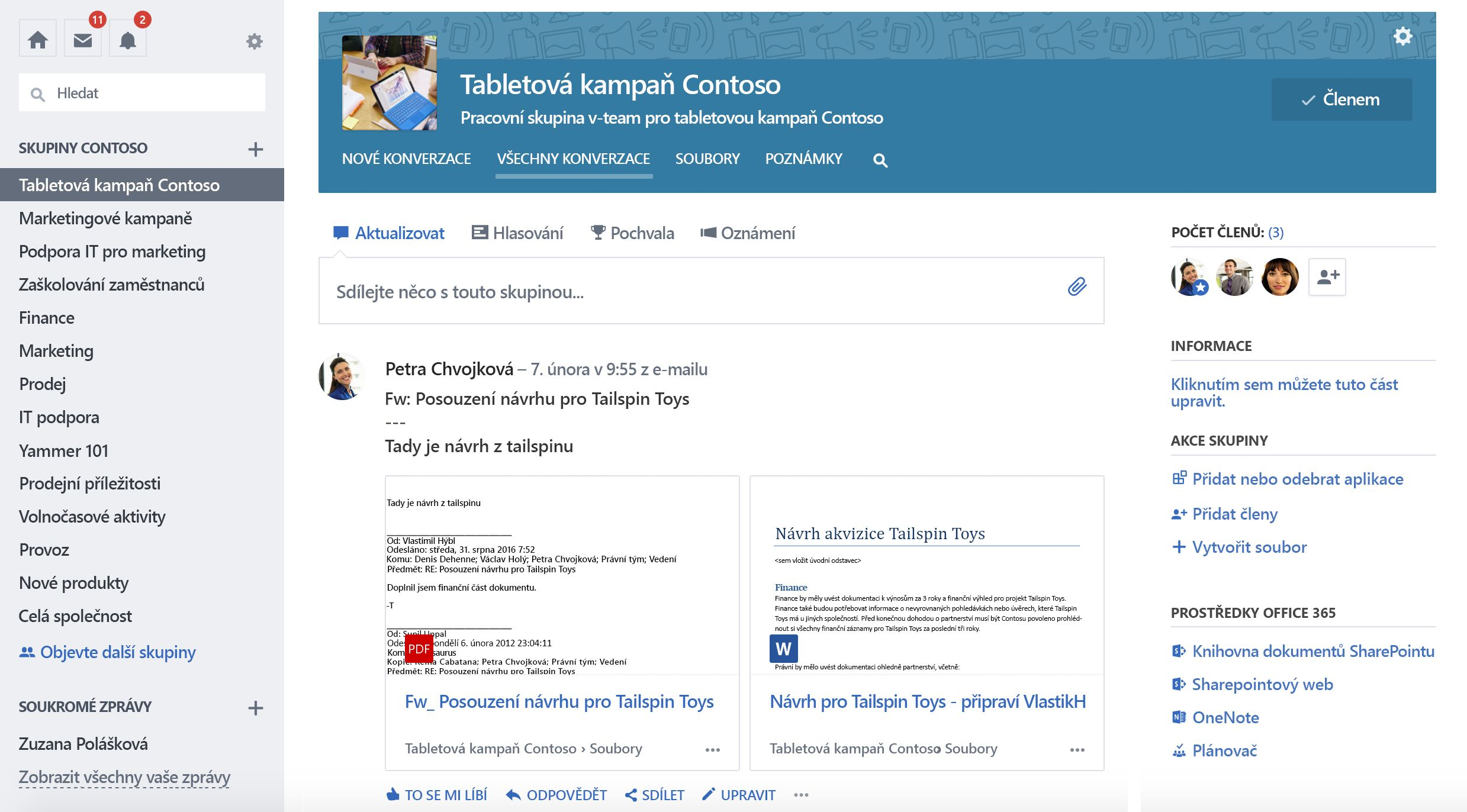 Snímek obrazovky s připojenými konverzacemi skupiny aplikace Yammer v Office 365