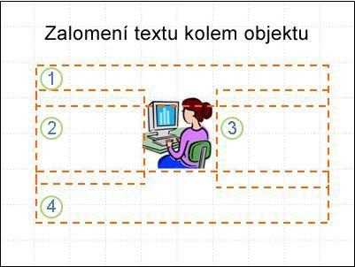 Snímek s objektem a se zobrazenými a očíslovanými textovými poli, bez textu