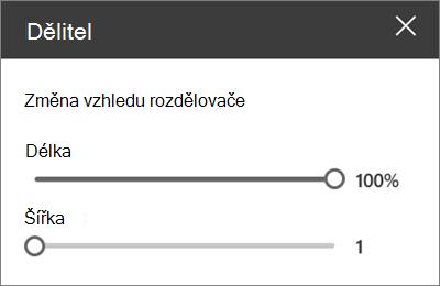 Podokno podrobností webové části oddělovače v SharePointu Online při úpravách webu