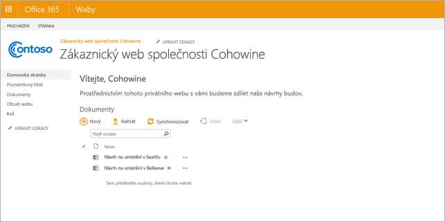 Obrázek možného vzhledu podřízeného webu po vytvoření.
