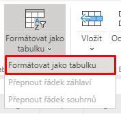 Tlačítko Formátovat jako tabulku