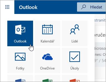 Snímek obrazovky s dlaždicí Outlook ve spouštěči aplikací