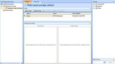 Kopie obrazovky s dokončeným řídícím panelem v aplikace Návrhář řídicích panelů