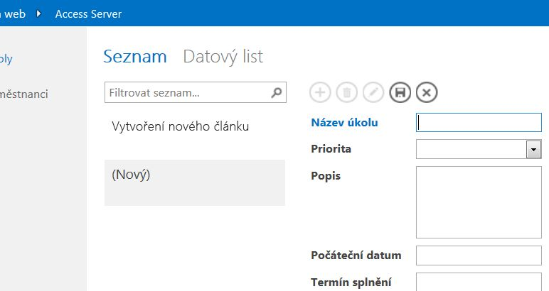 Přidání záznamu do zobrazení seznamu