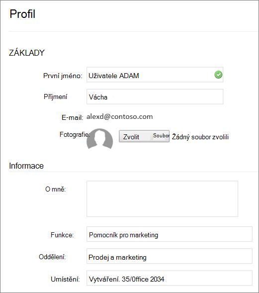 Snímek obrazovky s úpravy profilu Yammeru uživatele