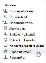 Nabídka Export uživatelů yammeru