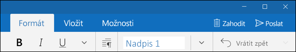 Karta Formát v aplikaci Outlook Pošta