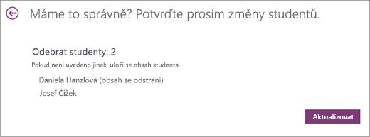 Seznam studentů má být odebrán.