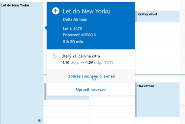 Zobrazení cestovní karty v Outlook Kalendáři