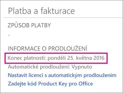 OneDrive – Platba a fakturace