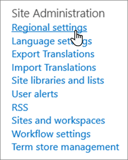 Web místního nastavení v části Správa webu