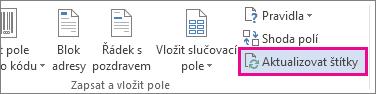 Tlačítko Aktualizovat štítky