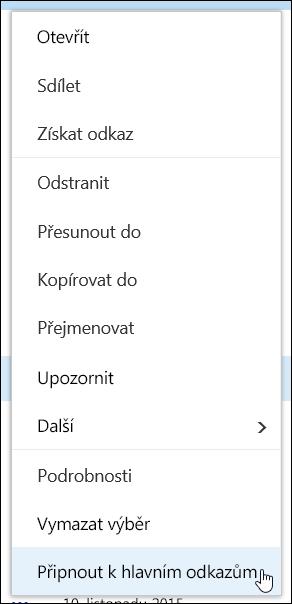 Připnutí položky mezi vybrané položky v knihovně dokumentů