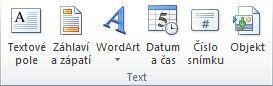 Skupina Text na kartě Vložení na pásu karet aplikace PowerPoint 2010