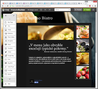 Příklad bočního panelu nástroje pro navrhování webu GoDaddy