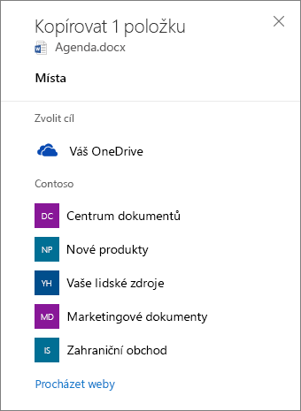 Snímek obrazovky pro výběr cíle při kopírování souborů z OneDrivu pro firmy na sharepointový web.
