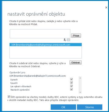 Snímek obrazovky s dialogem Nastavit oprávnění objektu pro službu Podnikové připojení v SharePointu Online.
