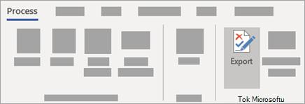 Na kartě proces ve skupině tok klikněte na tlačítko Exportovat.