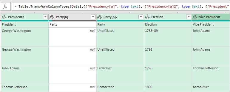Vyberte sloupce, které chcete zahrnout do datového typu.