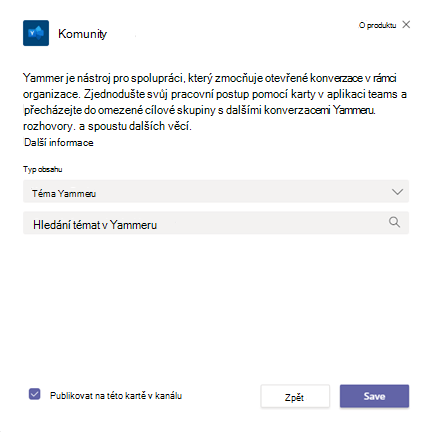 Přidání stránky komunity Yammeru do kanálu aplikace Teams