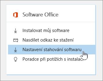 Nastavení stahování softwaru Office