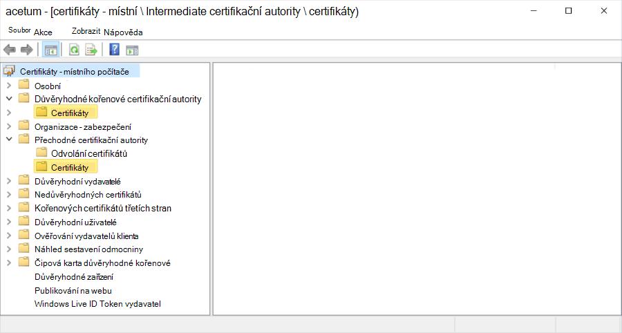 Hierarchie certifikátů na místním počítači