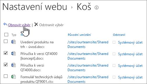 SharePoint 2013 2 úrovně odpadkový koš se zvýrazněným tlačítkem obnovení