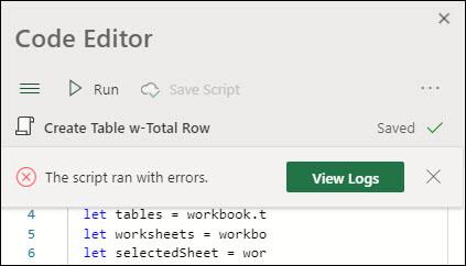 Chybová zpráva Editoru kódu se sdělením, že skript běžel s chybami. Další informace získáte stisknutím tlačítka Protokoly.