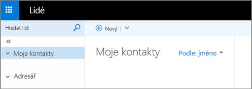 Obrázek toho, jak vypadá stránka Lidé v Outlook Web Appu