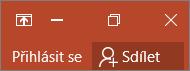 Zobrazuje odkaz pro přihlášení v pravém horním rohu aplikací Office