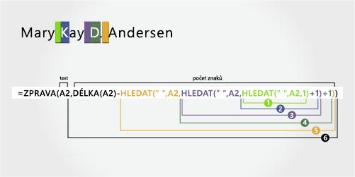 Vzorec pro oddělení jména, prostředního jména, iniciály prostředního jména a příjmení