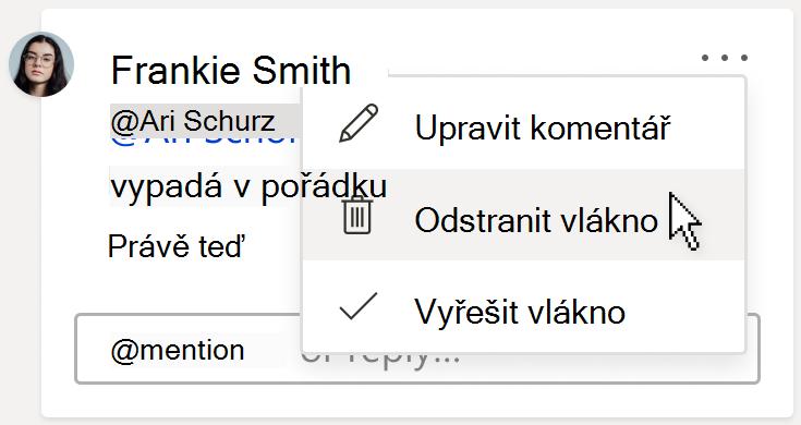 Obrázek komentáře, který zobrazuje možnost Odstranit vlákno v nabídce Další akce vlákna na kartě komentáře.
