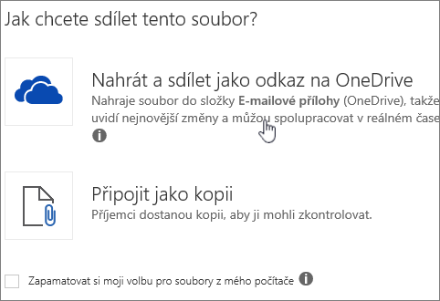 Snímek obrazovky s dialogovým oknem Příloha, který zobrazuje možnost Nahrát a připojit jako soubor na OneDrivu.