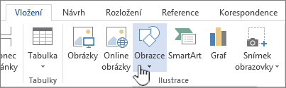 Tlačítko pro vkládání obrazců ve Wordu