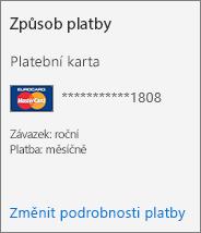 Oddíl Způsob platby na kartě Předplatné pro předplatné placené platební kartou