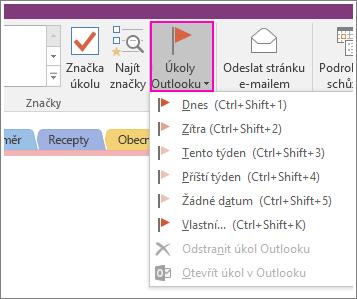Snímek obrazovky s tlačítkem Úkoly Outlooku ve OneNotu 2016