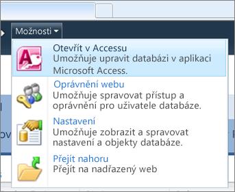 Nabídka Možnosti webu webové databáze služby SharePoint