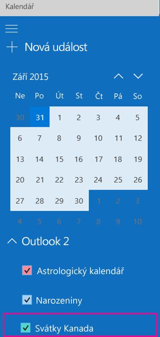 Kalendář svátků je uvedený v levém podokně