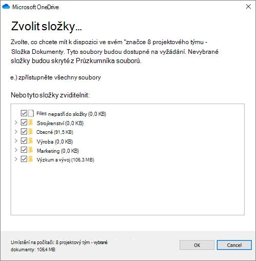 Snímek obrazovky s dialogovým oknem povolení konfigurace složky, které chcete synchronizovat.