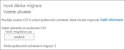 Nová migrační dávka se souborem CSV