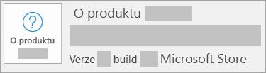 Snímek obrazovky s verzí a buildem pro Microsoft Store