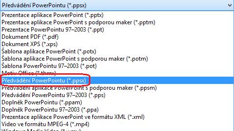 Seznam typů souborů v PowerPointu zahrnuje Předvádění PowerPointu (.ppsx)