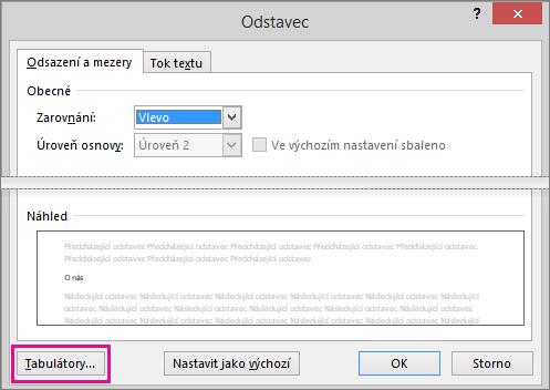 Dialogové okno odstavec se zvýrazněným tlačítkem tabulátory.