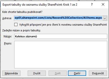 Export do služby SharePoint dialogového okna pole stránky 1